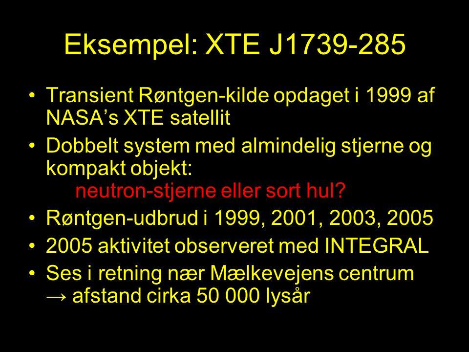 Eksempel: XTE J1739-285 Transient Røntgen-kilde opdaget i 1999 af NASA's XTE satellit.