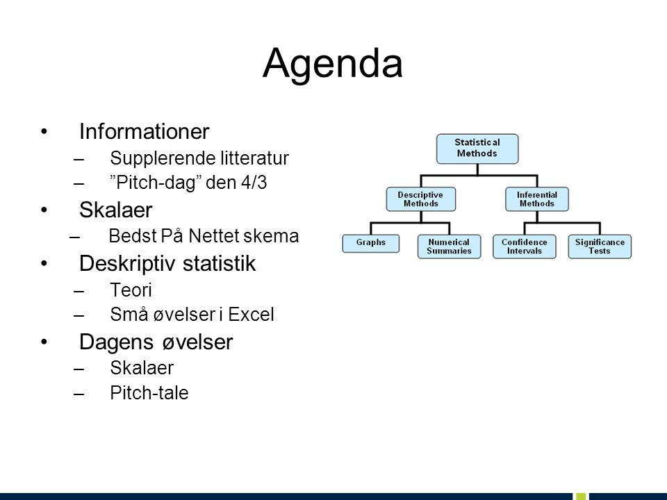 Agenda Informationer Skalaer Deskriptiv statistik Dagens øvelser