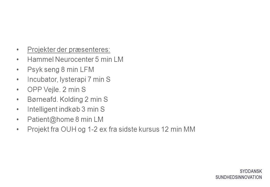 Projekter der præsenteres: