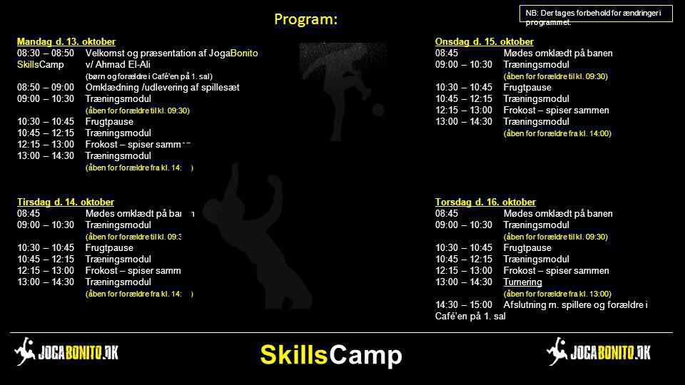 SkillsCamp Program: Mandag d. 13. oktober