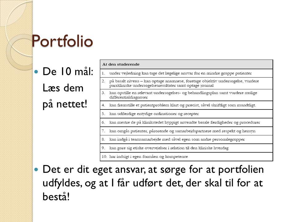 Portfolio De 10 mål: Læs dem på nettet!