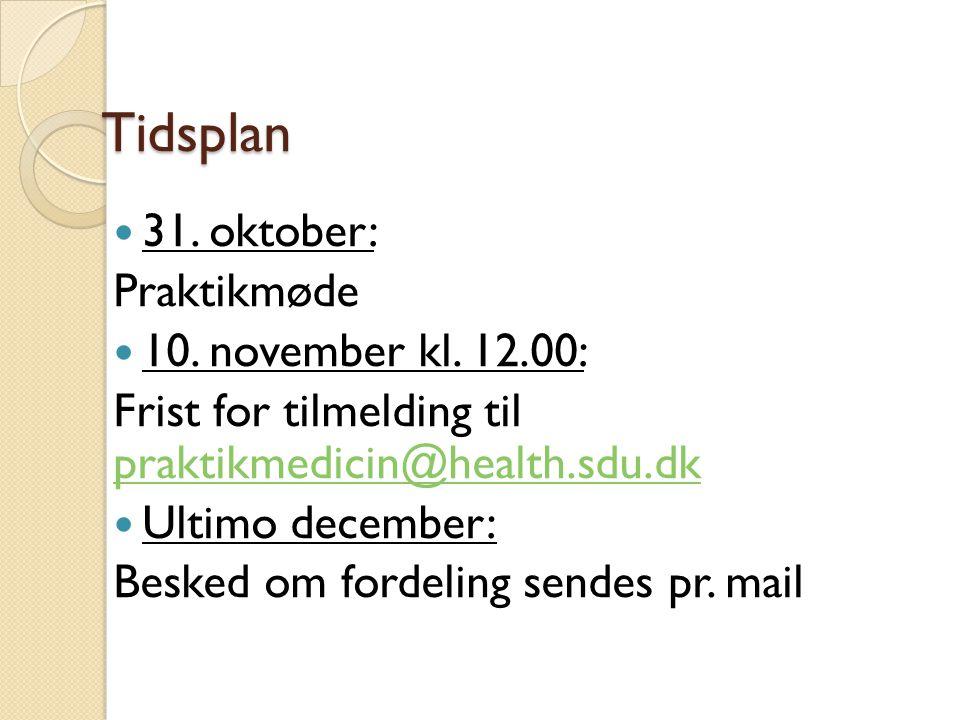 Tidsplan 31. oktober: Praktikmøde 10. november kl. 12.00:
