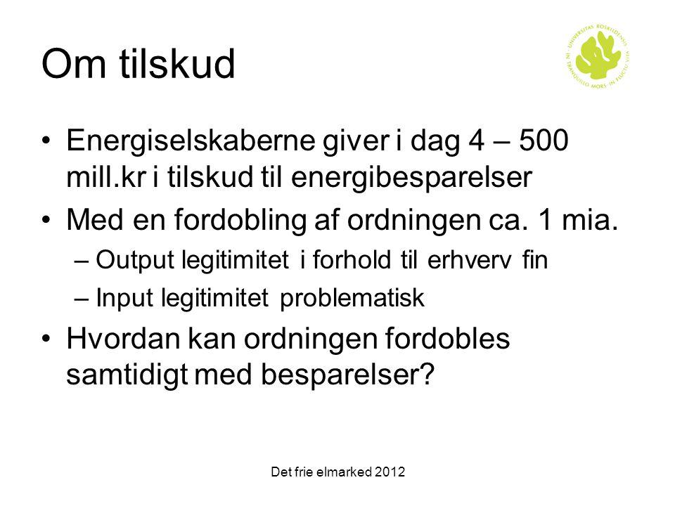 Om tilskud Energiselskaberne giver i dag 4 – 500 mill.kr i tilskud til energibesparelser. Med en fordobling af ordningen ca. 1 mia.