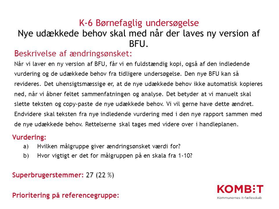 K-6 Børnefaglig undersøgelse Nye udækkede behov skal med når der laves ny version af BFU.