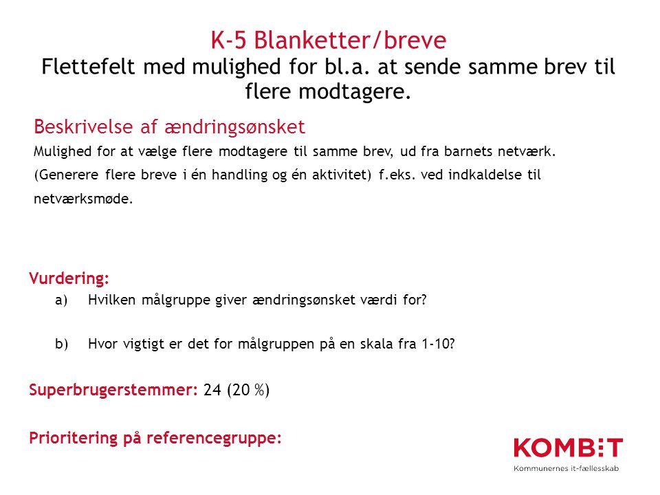 K-5 Blanketter/breve Flettefelt med mulighed for bl. a