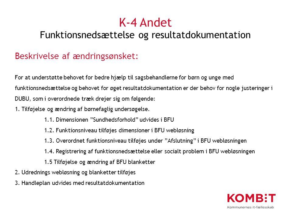 K-4 Andet Funktionsnedsættelse og resultatdokumentation