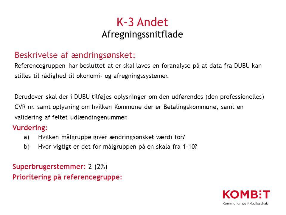 K-3 Andet Afregningssnitflade