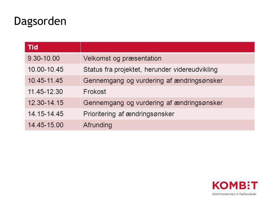 Dagsorden Tid 9.30-10.00 Velkomst og præsentation 10.00-10.45