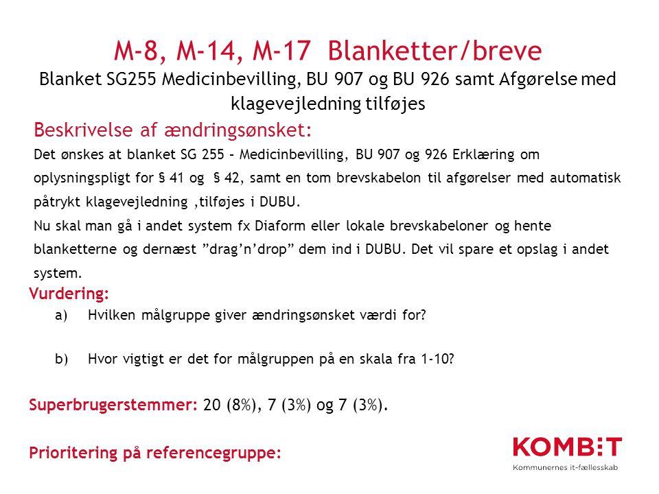 M-8, M-14, M-17 Blanketter/breve Blanket SG255 Medicinbevilling, BU 907 og BU 926 samt Afgørelse med klagevejledning tilføjes