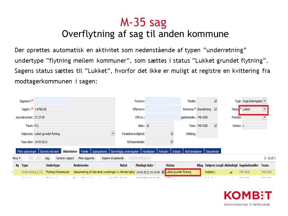 M-35 sag Overflytning af sag til anden kommune
