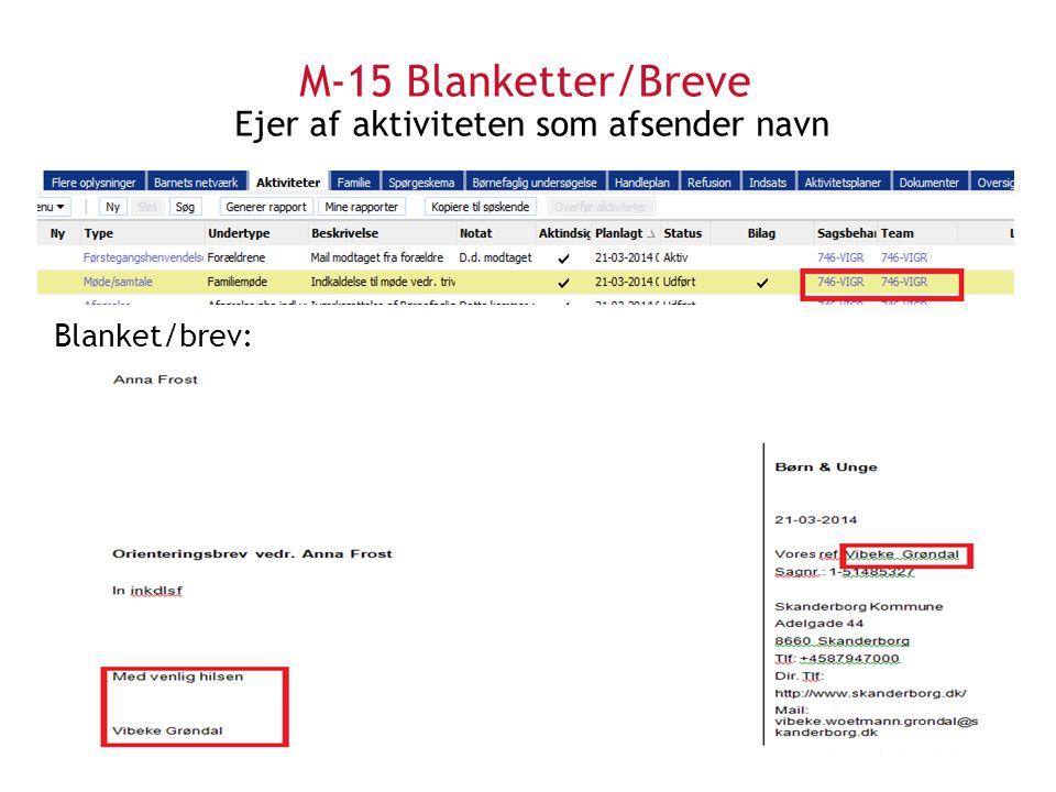 M-15 Blanketter/Breve Ejer af aktiviteten som afsender navn