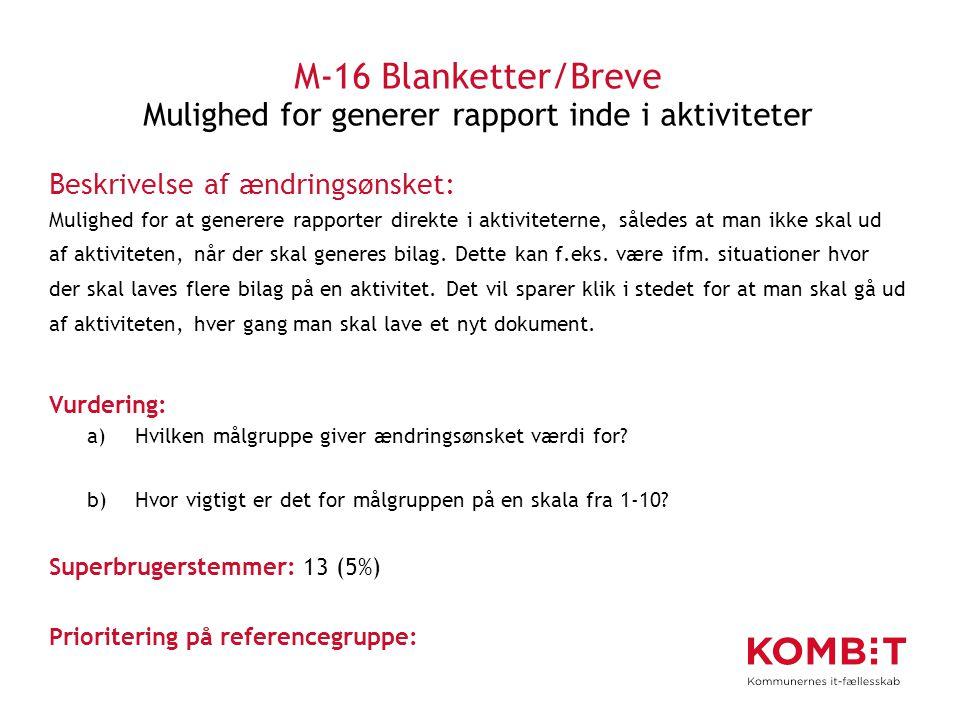 M-16 Blanketter/Breve Mulighed for generer rapport inde i aktiviteter