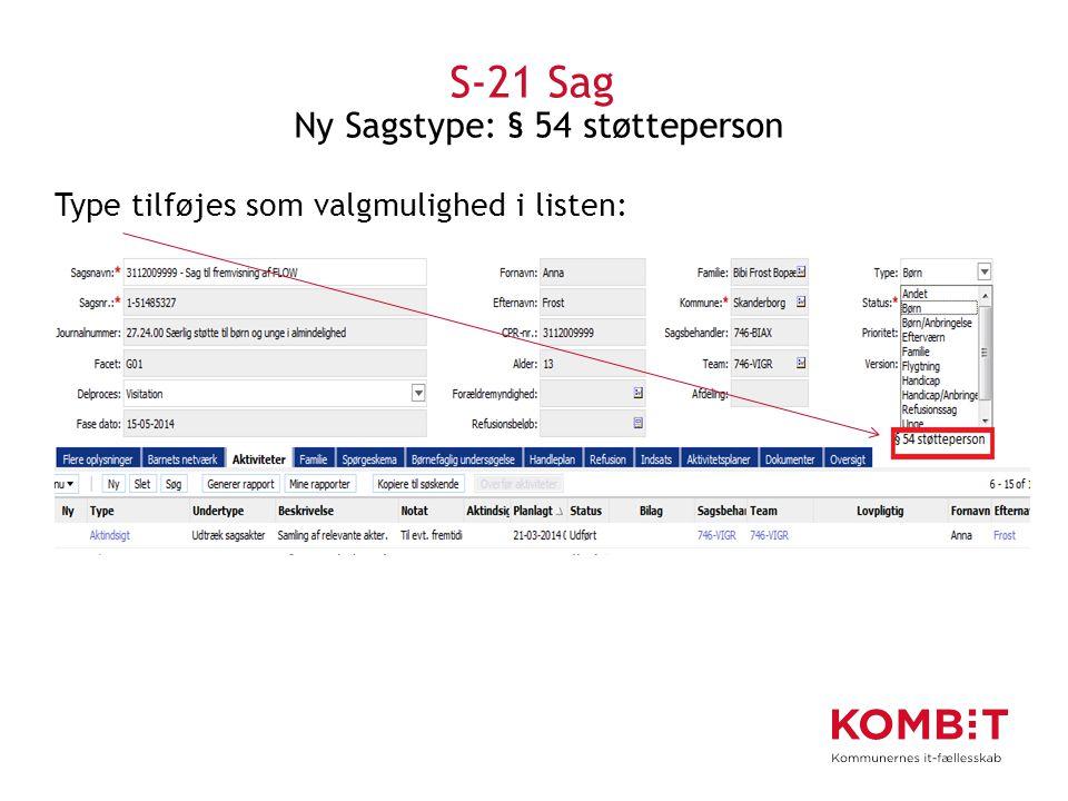 S-21 Sag Ny Sagstype: § 54 støtteperson