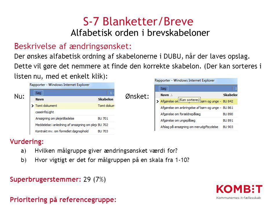 S-7 Blanketter/Breve Alfabetisk orden i brevskabeloner