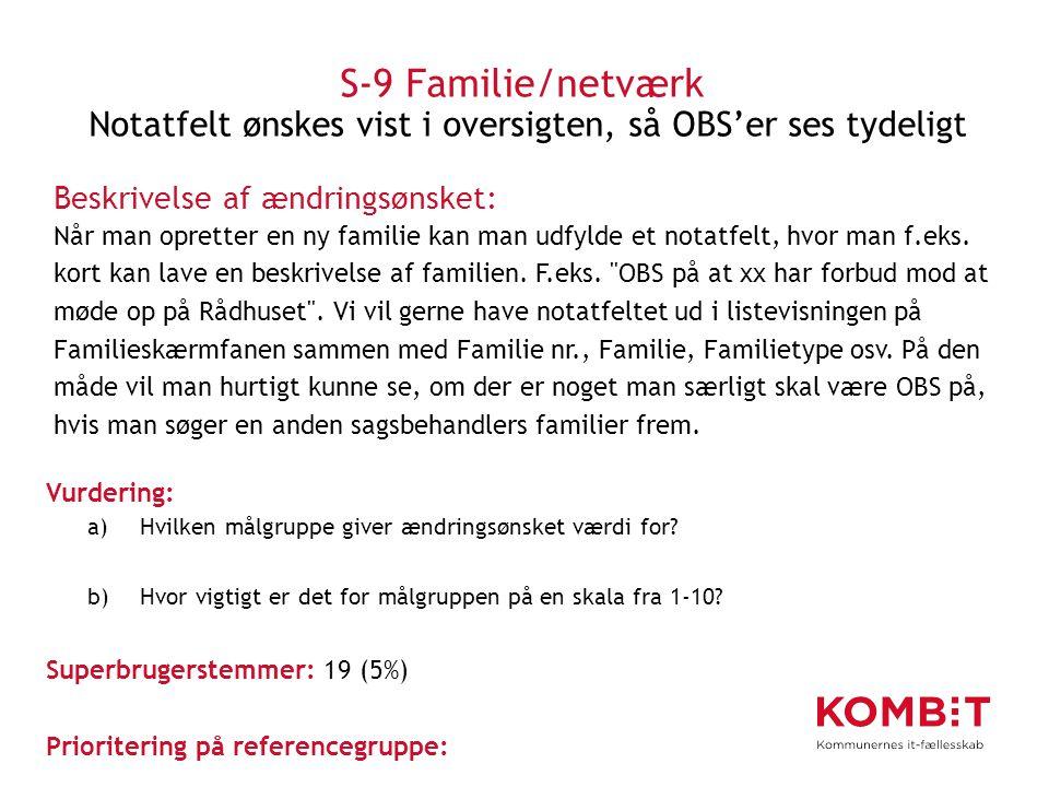 S-9 Familie/netværk Notatfelt ønskes vist i oversigten, så OBS'er ses tydeligt