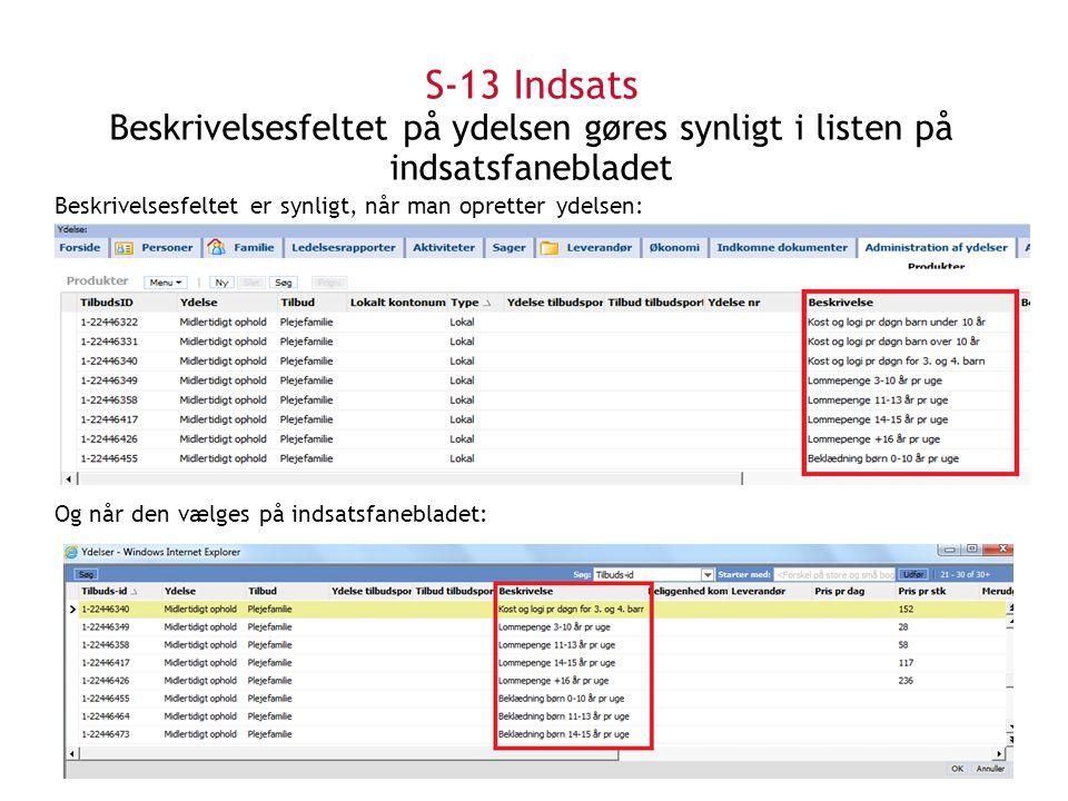 S-13 Indsats Beskrivelsesfeltet på ydelsen gøres synligt i listen på indsatsfanebladet