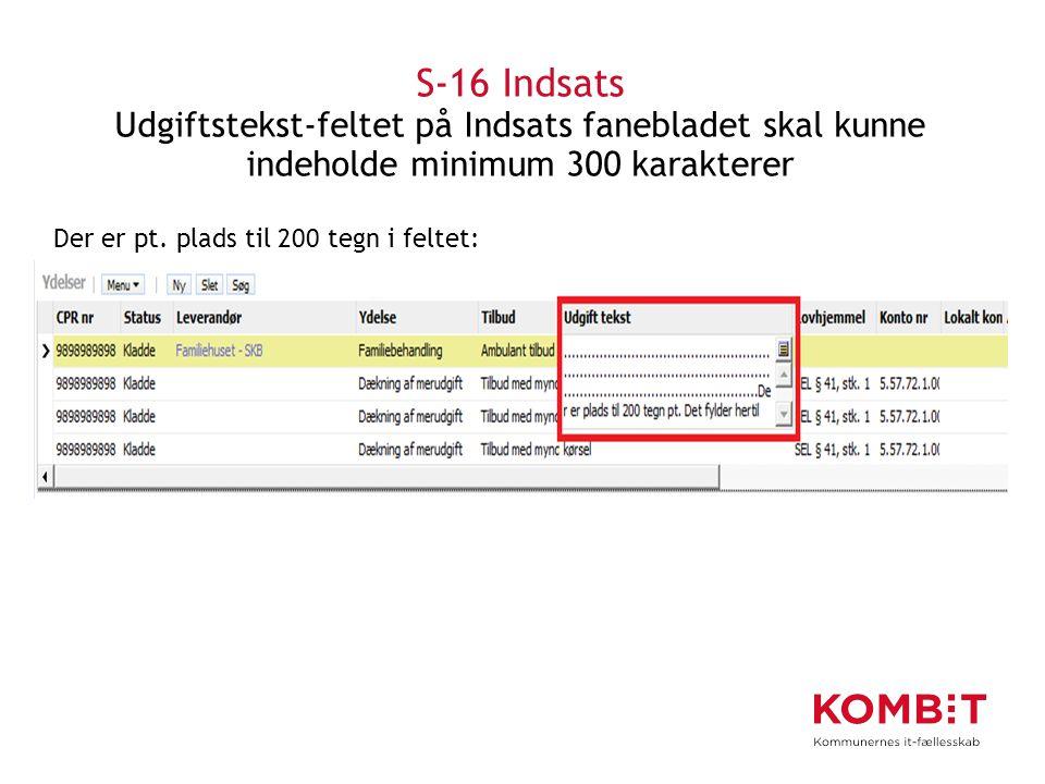 S-16 Indsats Udgiftstekst-feltet på Indsats fanebladet skal kunne indeholde minimum 300 karakterer