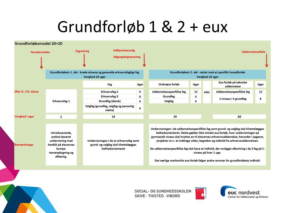Grundforløb 1 & 2 + eux G1 skal: Skal give eleven mulighed for at opbygge modenhed og udvikle almene og brede erhvervsfaglige kompetencer.