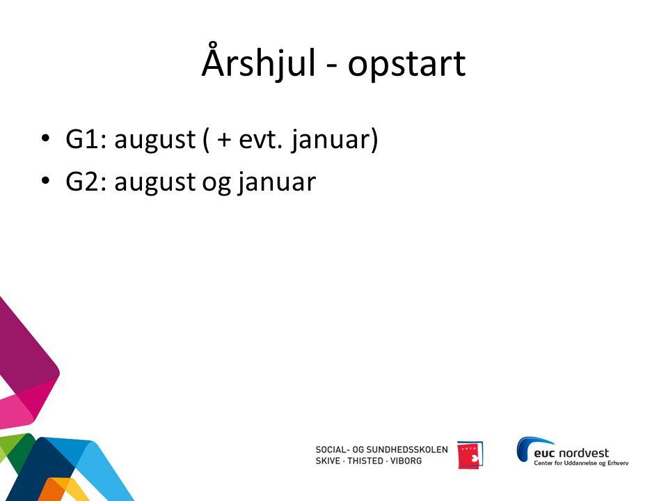 Årshjul - opstart G1: august ( + evt. januar) G2: august og januar