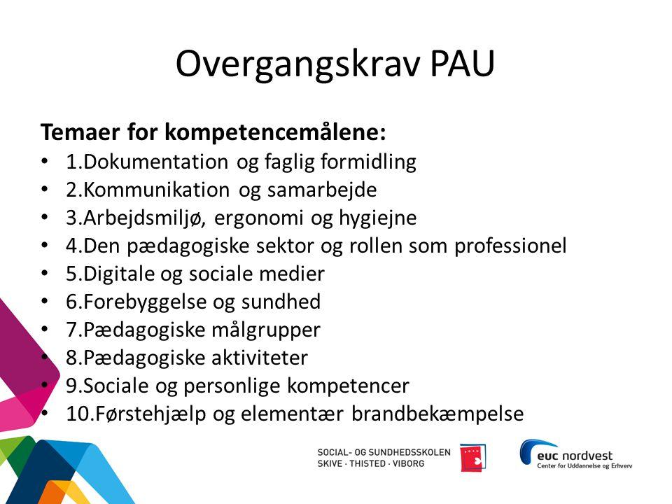 Overgangskrav PAU Temaer for kompetencemålene: