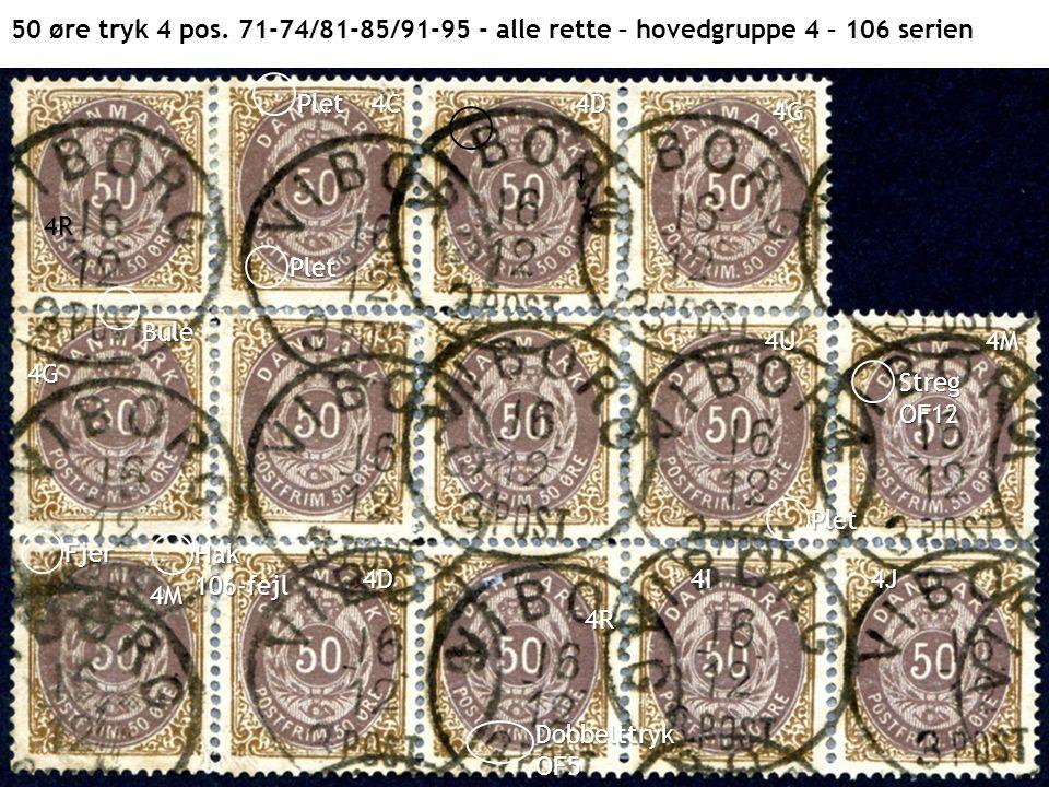 50 øre tryk 4 pos. 71-74/81-85/91-95 - alle rette – hovedgruppe 4 – 106 serien