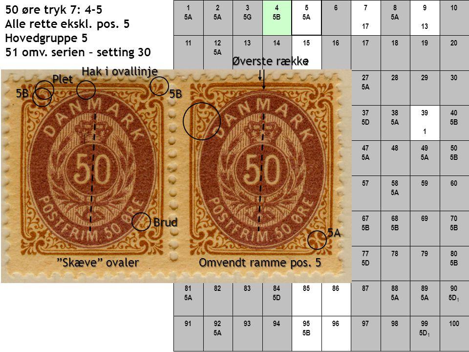 50 øre tryk 7: 4-5 Alle rette ekskl. pos. 5 Hovedgruppe 5