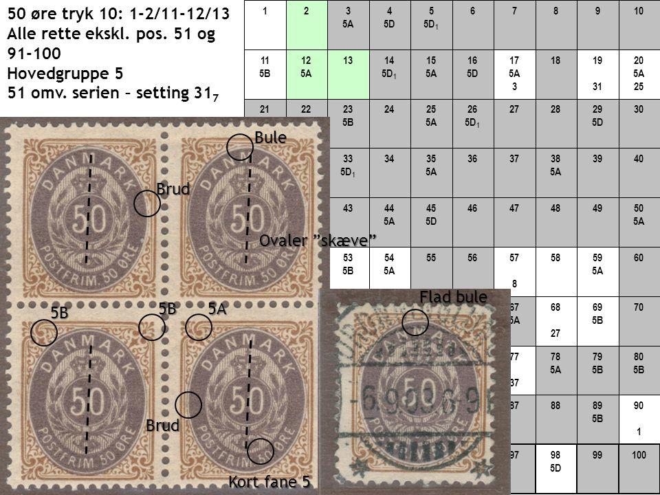 50 øre tryk 10: 1-2/11-12/13 Alle rette ekskl. pos. 51 og 91-100