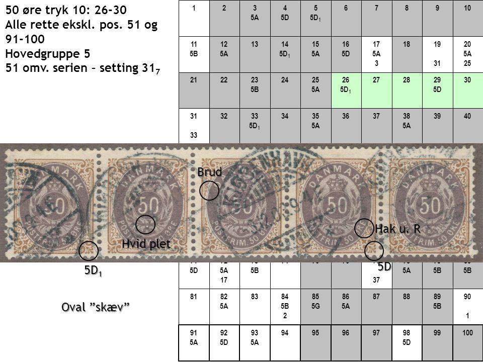 50 øre tryk 10: 26-30 Alle rette ekskl. pos. 51 og 91-100