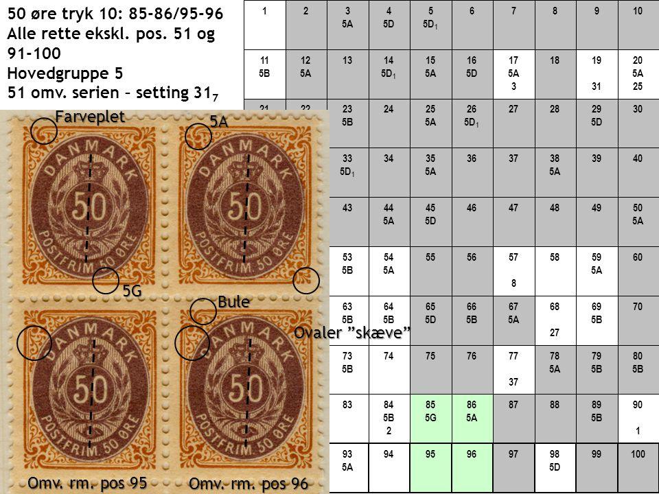 50 øre tryk 10: 85-86/95-96 Alle rette ekskl. pos. 51 og 91-100