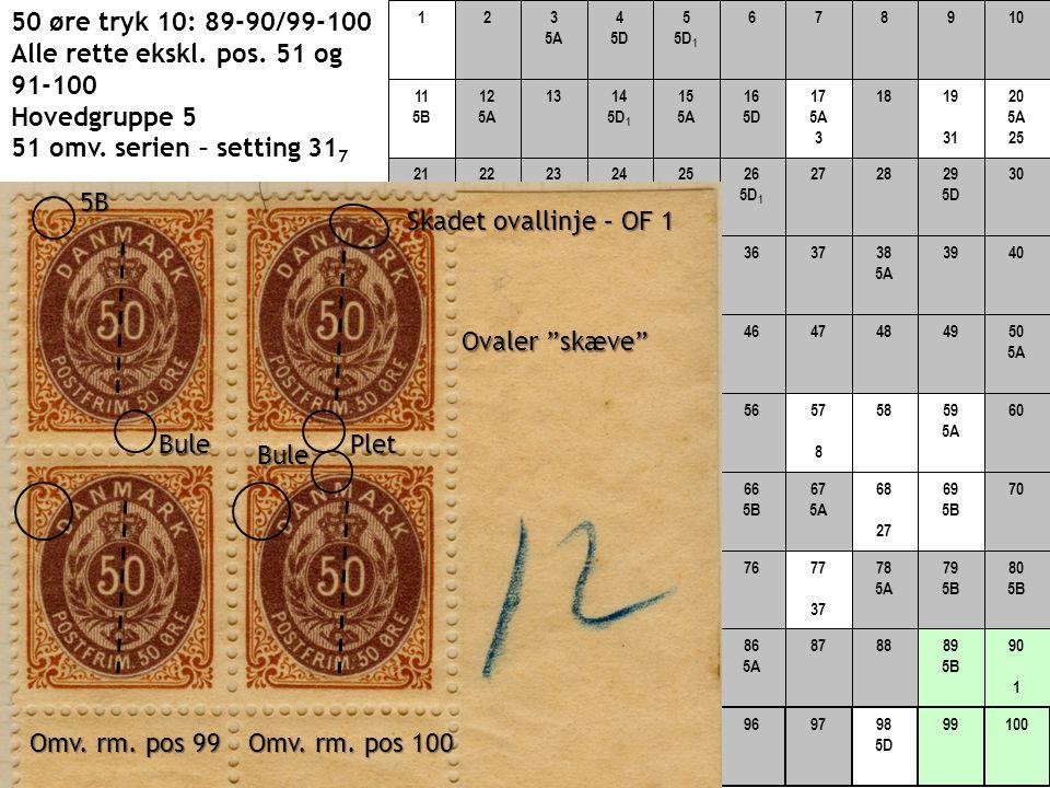 50 øre tryk 10: 89-90/99-100 Alle rette ekskl. pos. 51 og 91-100