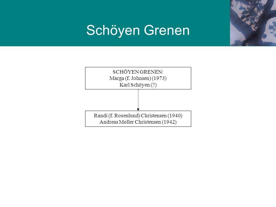 SCHÖYEN GRENEN: Marga (f. Johnsen) (1973) Karl Schöyen ( )
