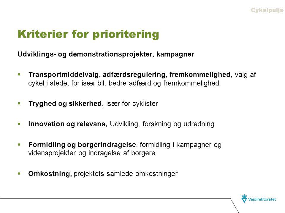 Kriterier for prioritering