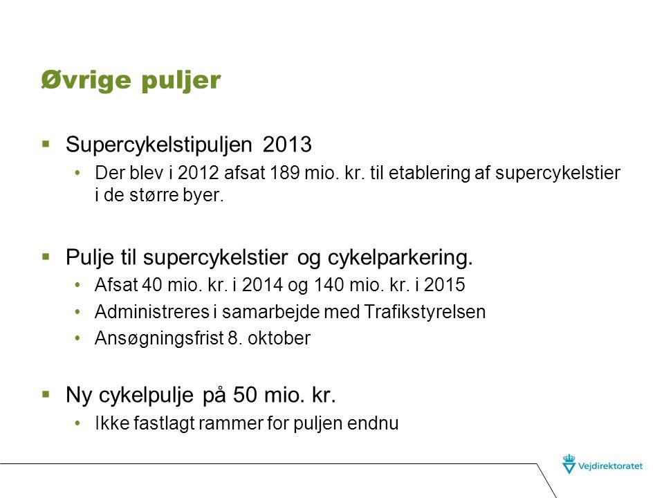 Øvrige puljer Supercykelstipuljen 2013