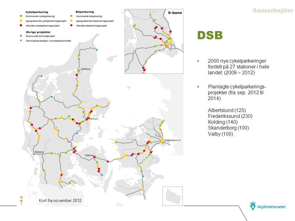 Samarbejder DSB. 2000 nye cykelparkeringer fordelt på 27 stationer i hele landet. (2009 – 2012)