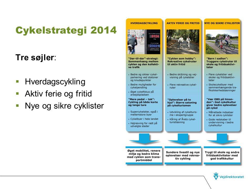 Cykelstrategi 2014 Tre søjler: Hverdagscykling Aktiv ferie og fritid