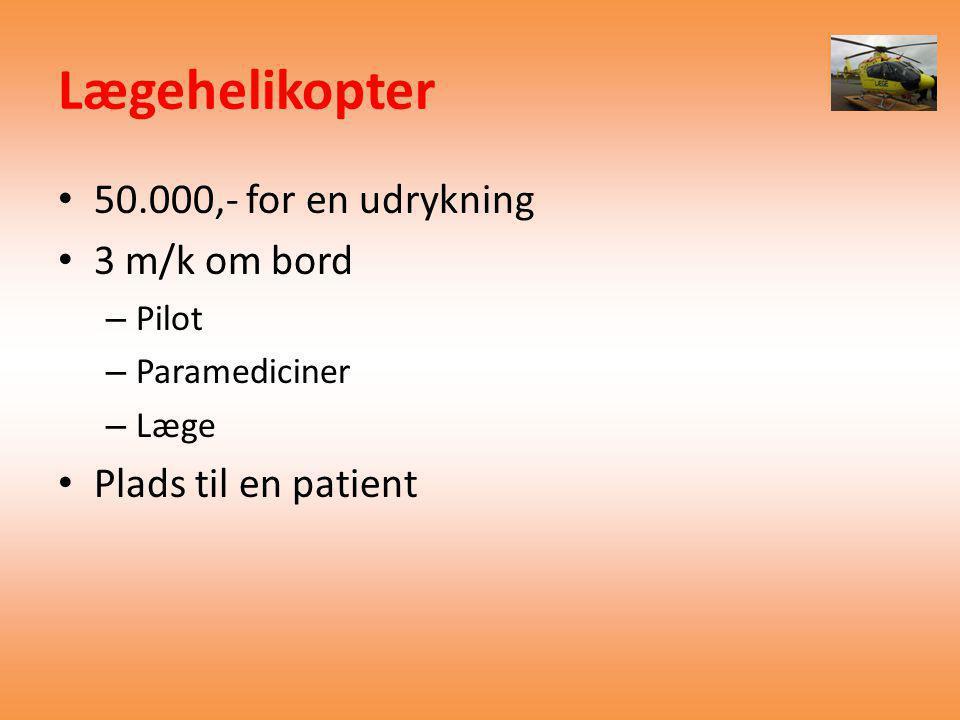 Lægehelikopter 50.000,- for en udrykning 3 m/k om bord