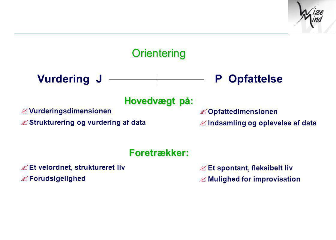 Orientering Vurdering J P Opfattelse Hovedvægt på: Foretrækker: