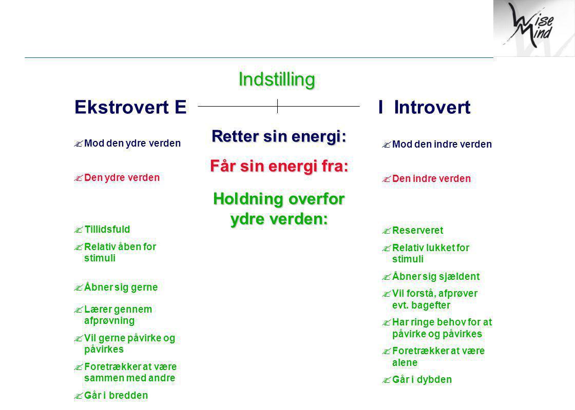 Indstilling Ekstrovert E I Introvert Retter sin energi: