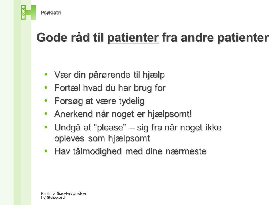 Gode råd til patienter fra andre patienter