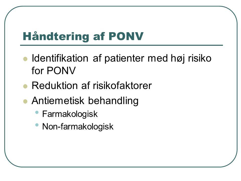 Håndtering af PONV Identifikation af patienter med høj risiko for PONV