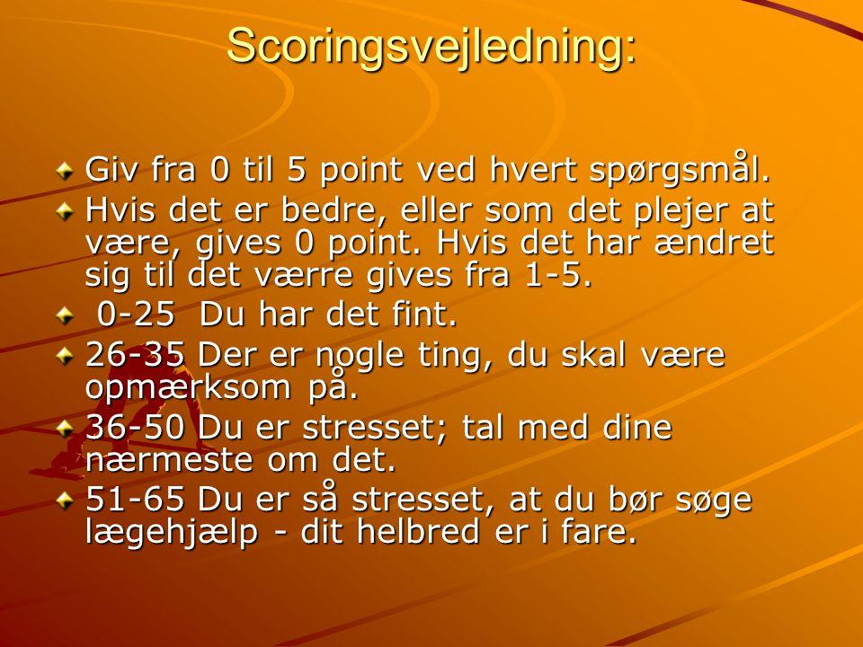 Scoringsvejledning: Giv fra 0 til 5 point ved hvert spørgsmål.