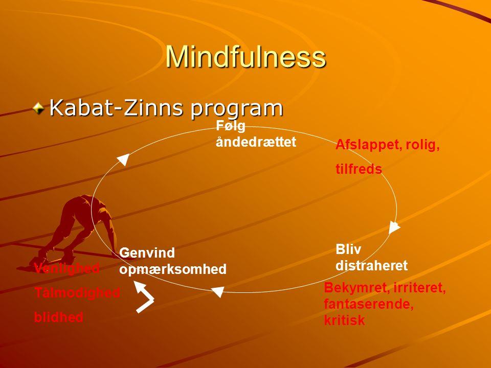 Mindfulness Kabat-Zinns program Følg åndedrættet Afslappet, rolig,