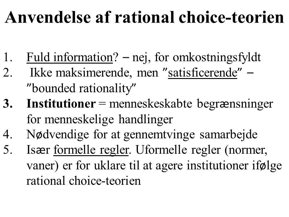 Anvendelse af rational choice-teorien