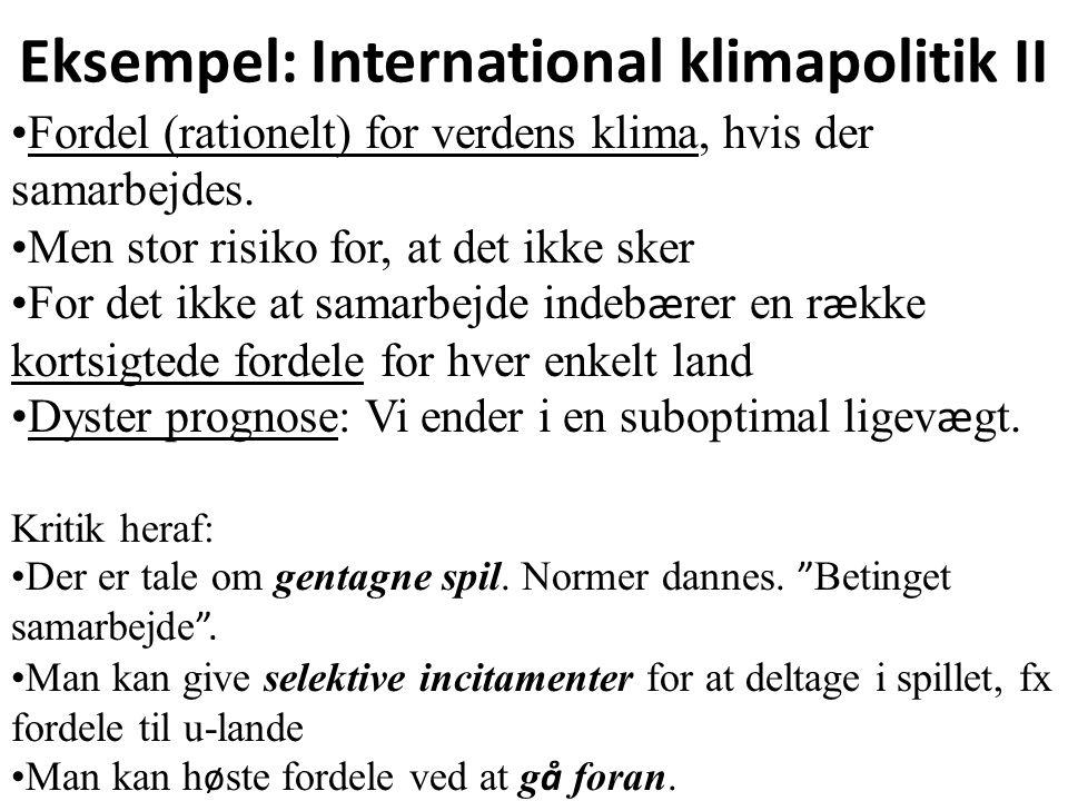 Eksempel: International klimapolitik II