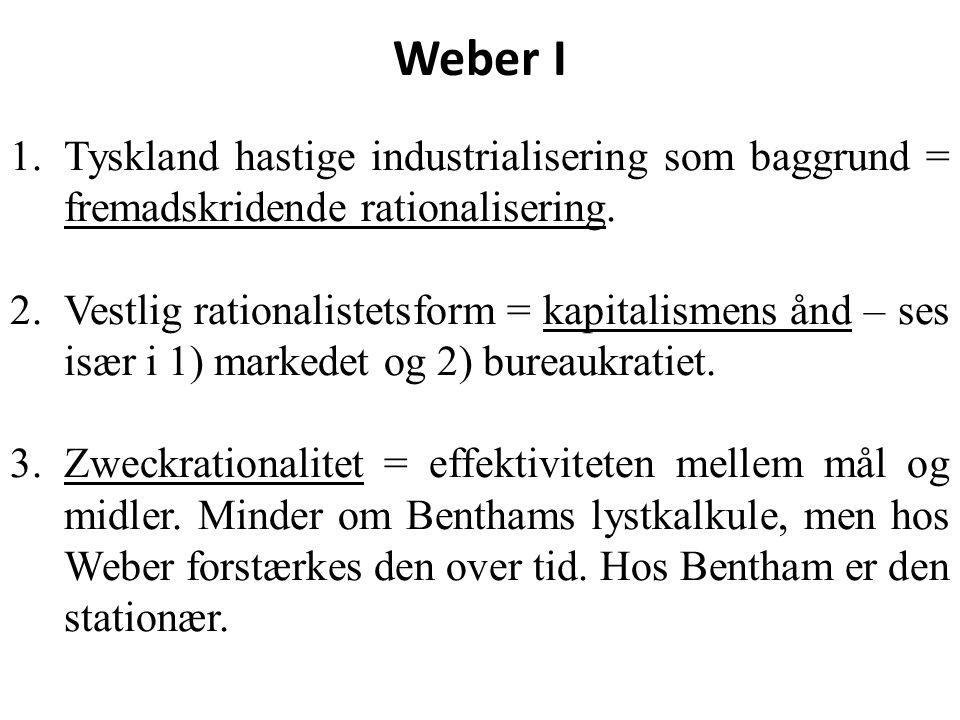 Weber I Tyskland hastige industrialisering som baggrund = fremadskridende rationalisering.