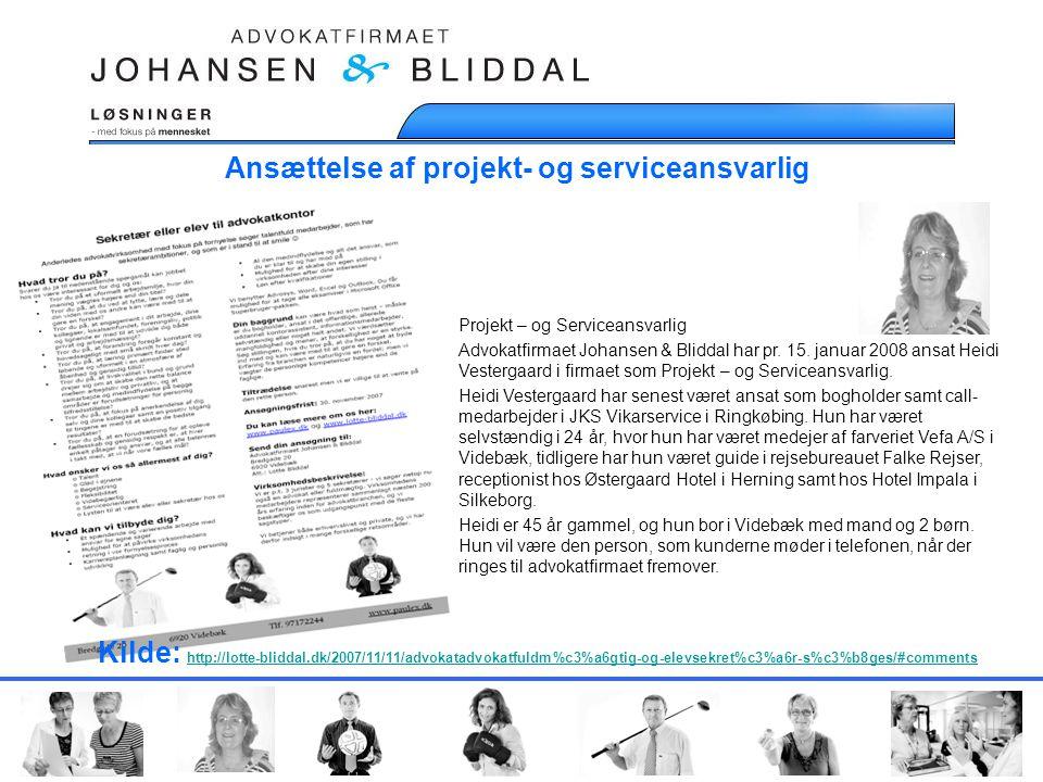 Ansættelse af projekt- og serviceansvarlig