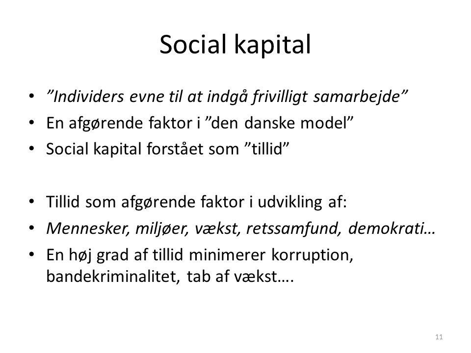 Social kapital Individers evne til at indgå frivilligt samarbejde