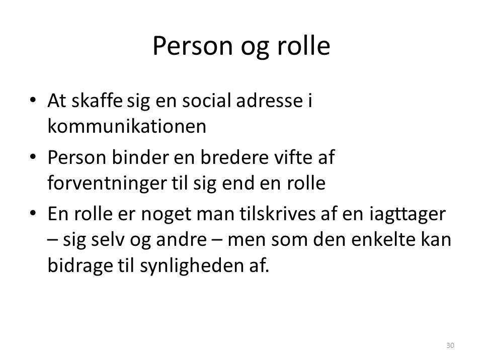 Person og rolle At skaffe sig en social adresse i kommunikationen