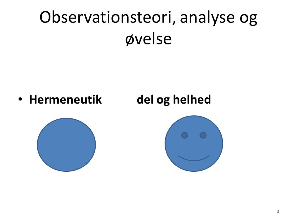 Observationsteori, analyse og øvelse