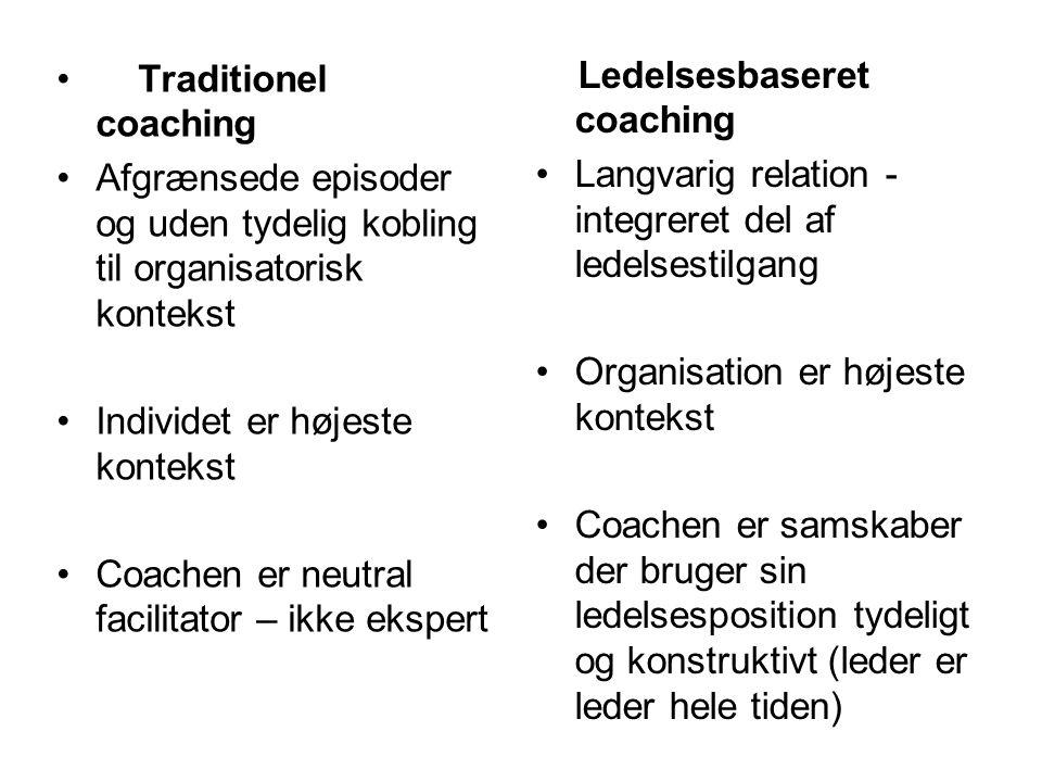 Traditionel coaching Afgrænsede episoder og uden tydelig kobling til organisatorisk kontekst. Individet er højeste kontekst.